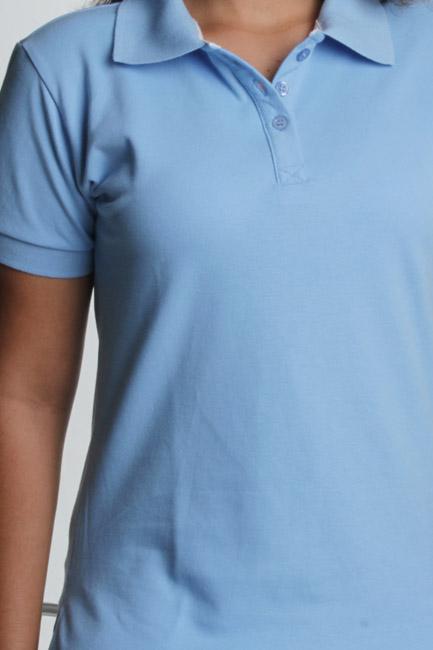 0c7fdf659d confecção de camisa azul céu polo feminina com bordado